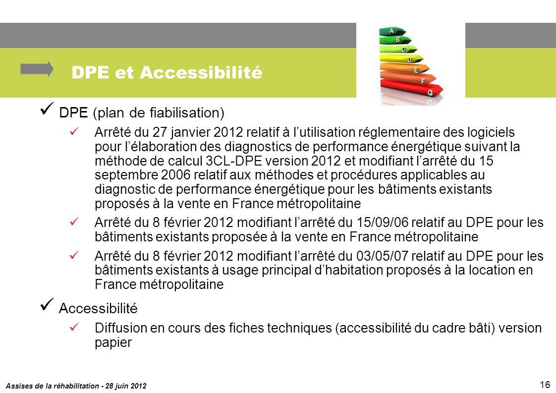 DPE et Accessibilité DPE (plan de fiabilisation) Accessibilité