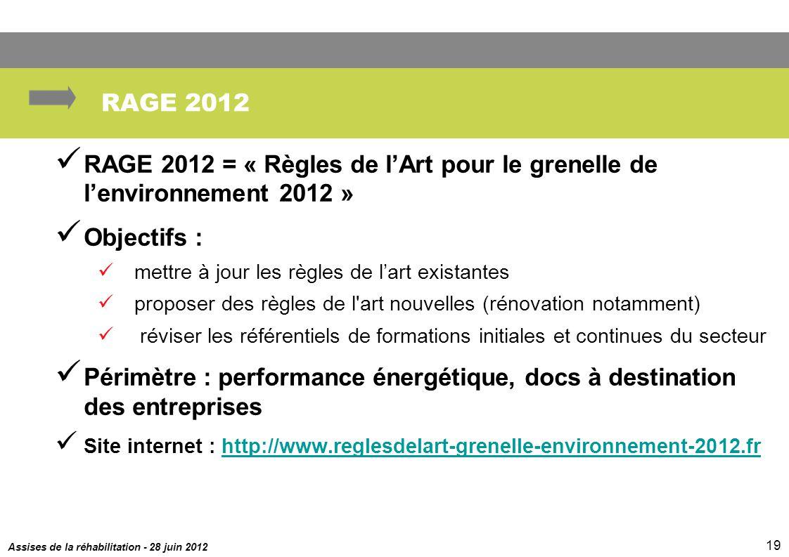 RAGE 2012 RAGE 2012 = « Règles de l'Art pour le grenelle de l'environnement 2012 » Objectifs : mettre à jour les règles de l'art existantes.