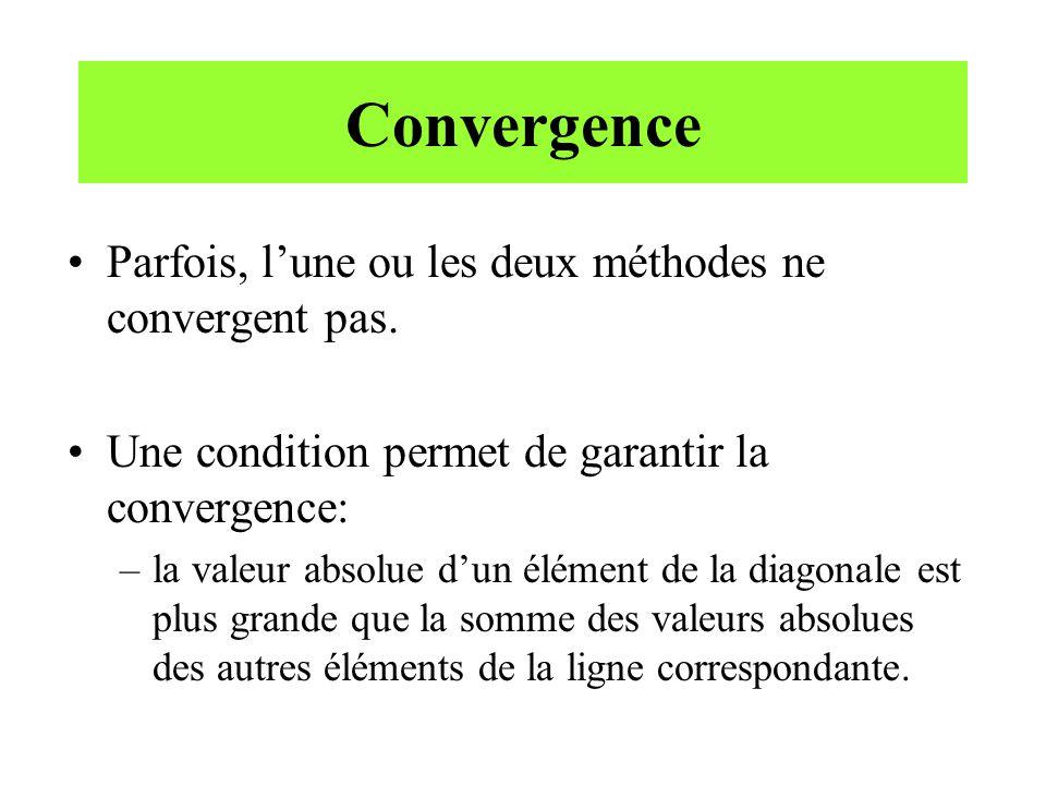 Convergence Parfois, l'une ou les deux méthodes ne convergent pas.