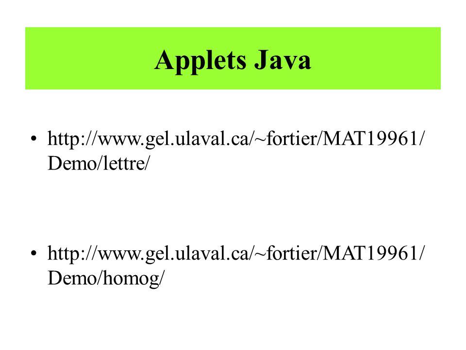 Applets Java http://www.gel.ulaval.ca/~fortier/MAT19961/Demo/lettre/