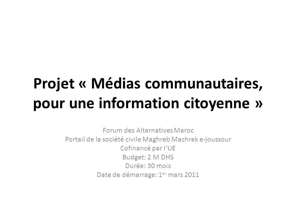 Projet « Médias communautaires, pour une information citoyenne »
