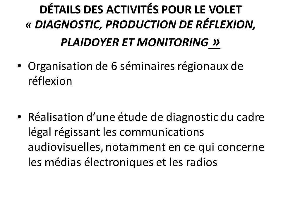 Détails des activités pour le volet « Diagnostic, production de réflexion, plaidoyer et monitoring »