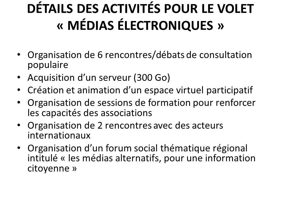 Détails des activités pour le volet « Médias électroniques »