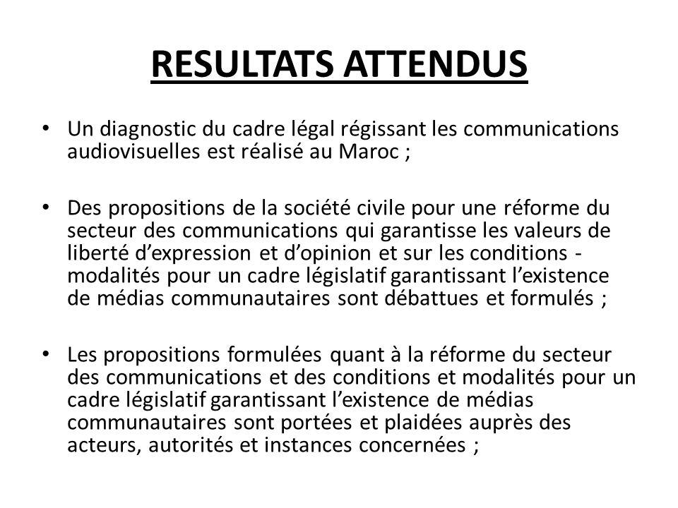 RESULTATS ATTENDUS Un diagnostic du cadre légal régissant les communications audiovisuelles est réalisé au Maroc ;