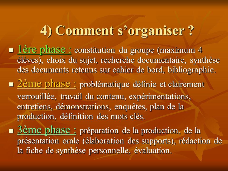 4) Comment s'organiser