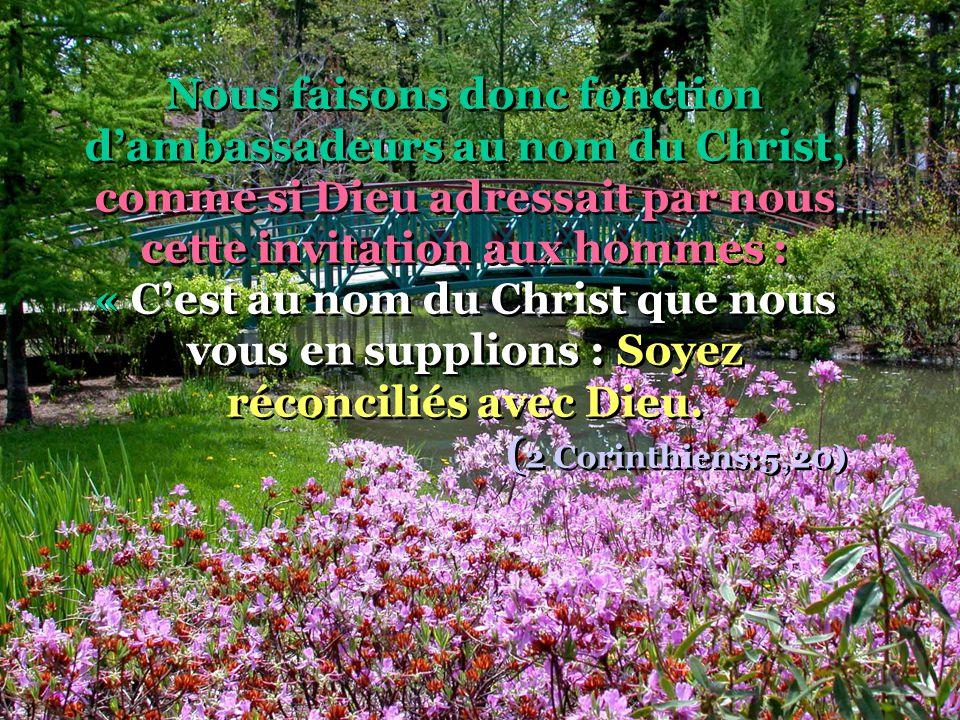 Nous faisons donc fonction d'ambassadeurs au nom du Christ, comme si Dieu adressait par nous cette invitation aux hommes : « C'est au nom du Christ que nous vous en supplions : Soyez réconciliés avec Dieu.