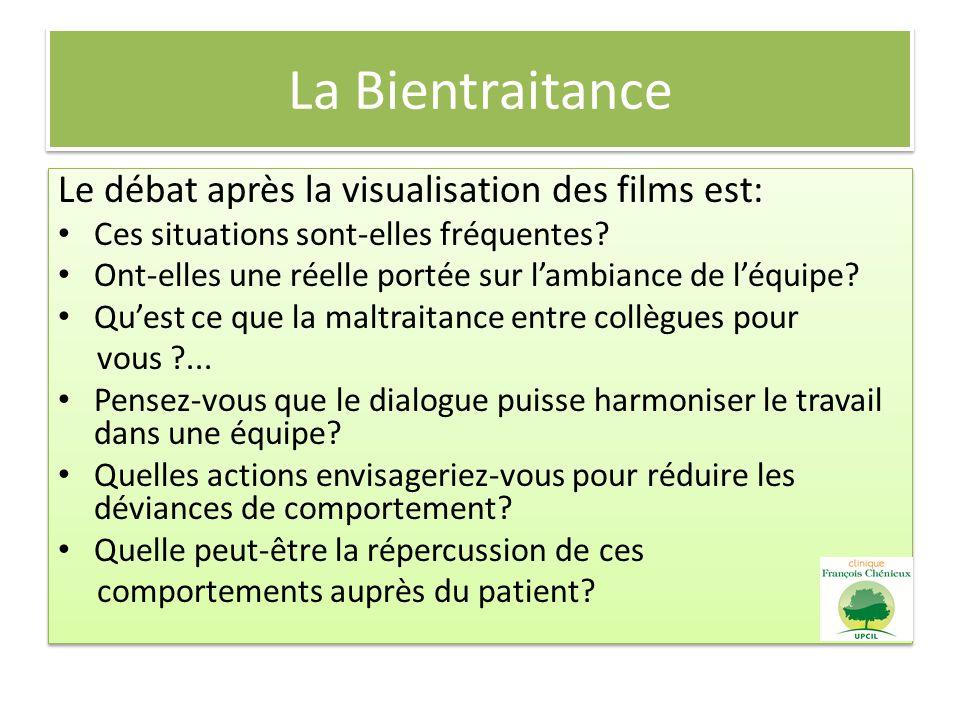 La Bientraitance Le débat après la visualisation des films est: