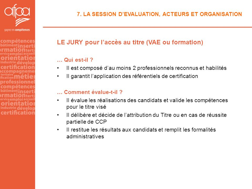 LE JURY pour l'accès au titre (VAE ou formation)