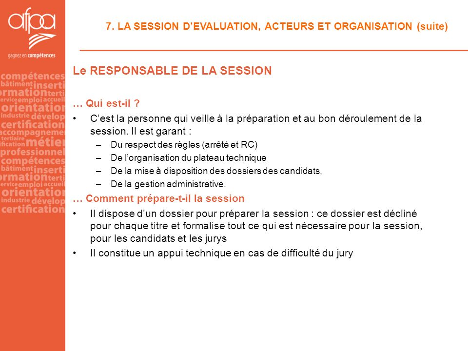 Le RESPONSABLE DE LA SESSION