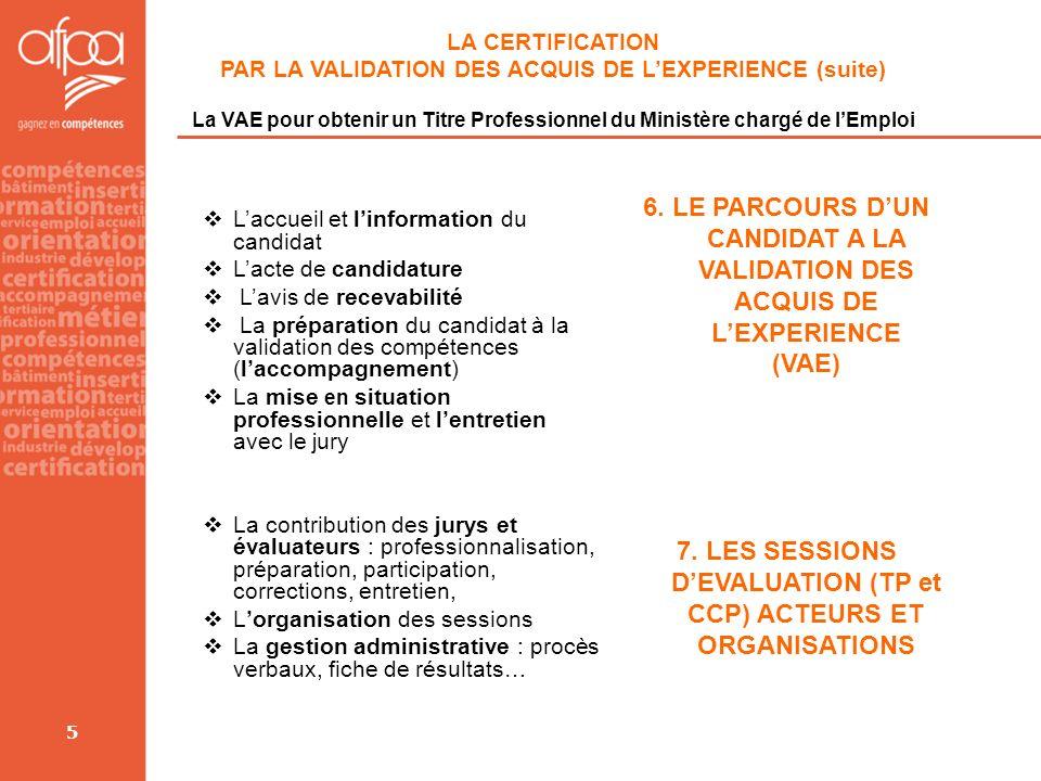 7. LES SESSIONS D'EVALUATION (TP et CCP) ACTEURS ET ORGANISATIONS