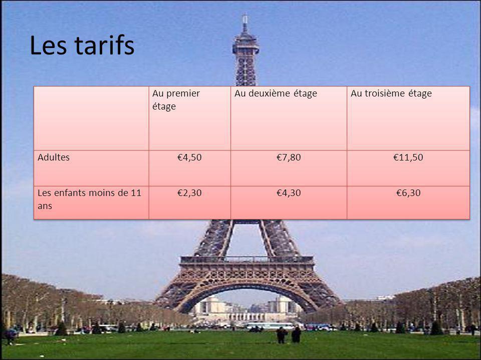 Les tarifs Au premier étage Au deuxième étage Au troisième étage