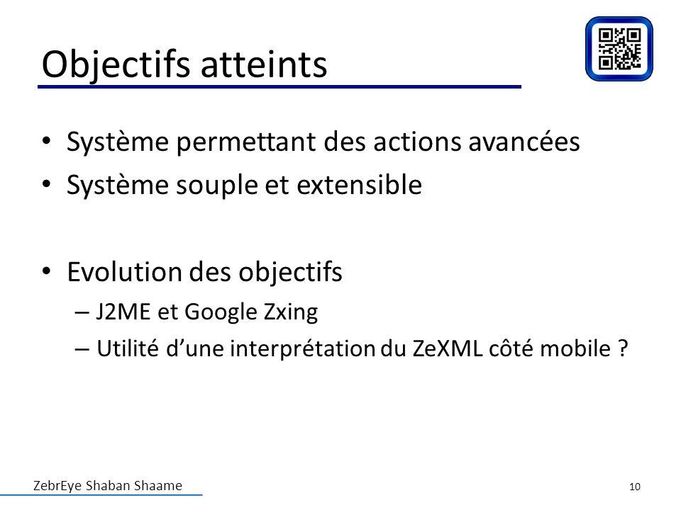 Objectifs atteints Système permettant des actions avancées
