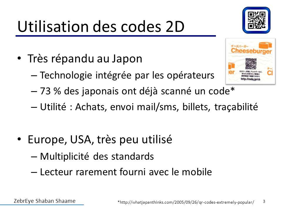 Utilisation des codes 2D