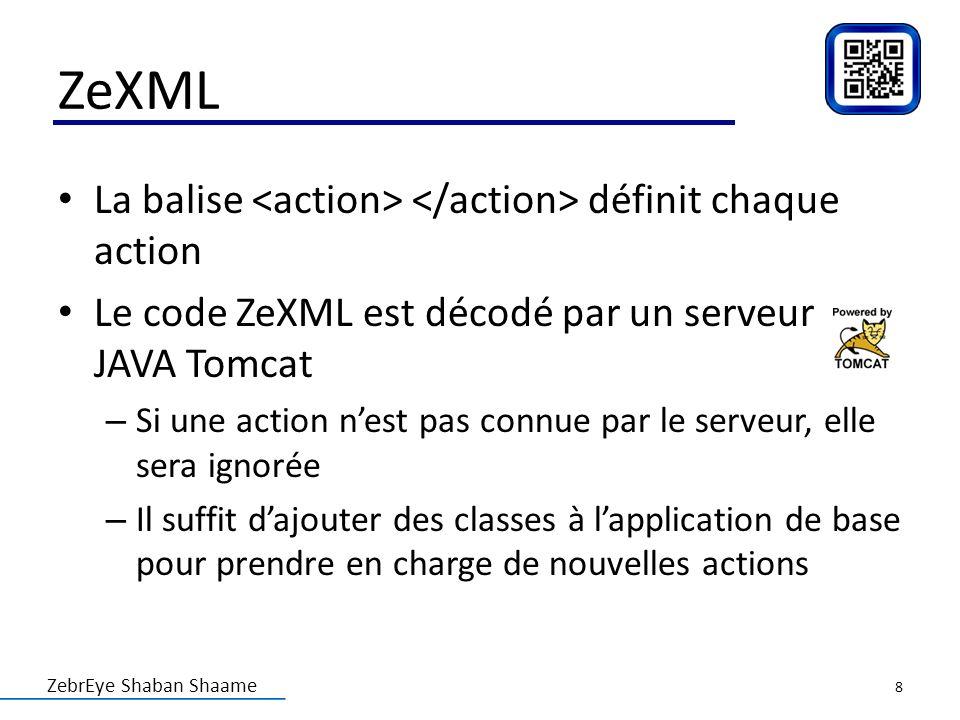 ZeXML La balise <action> </action> définit chaque action