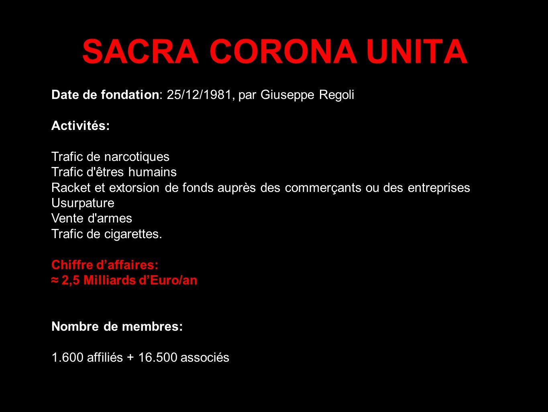 SACRA CORONA UNITA Date de fondation: 25/12/1981, par Giuseppe Regoli