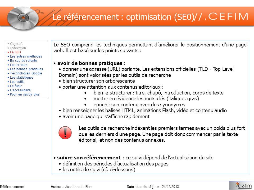 Le référencement : optimisation (SE0)