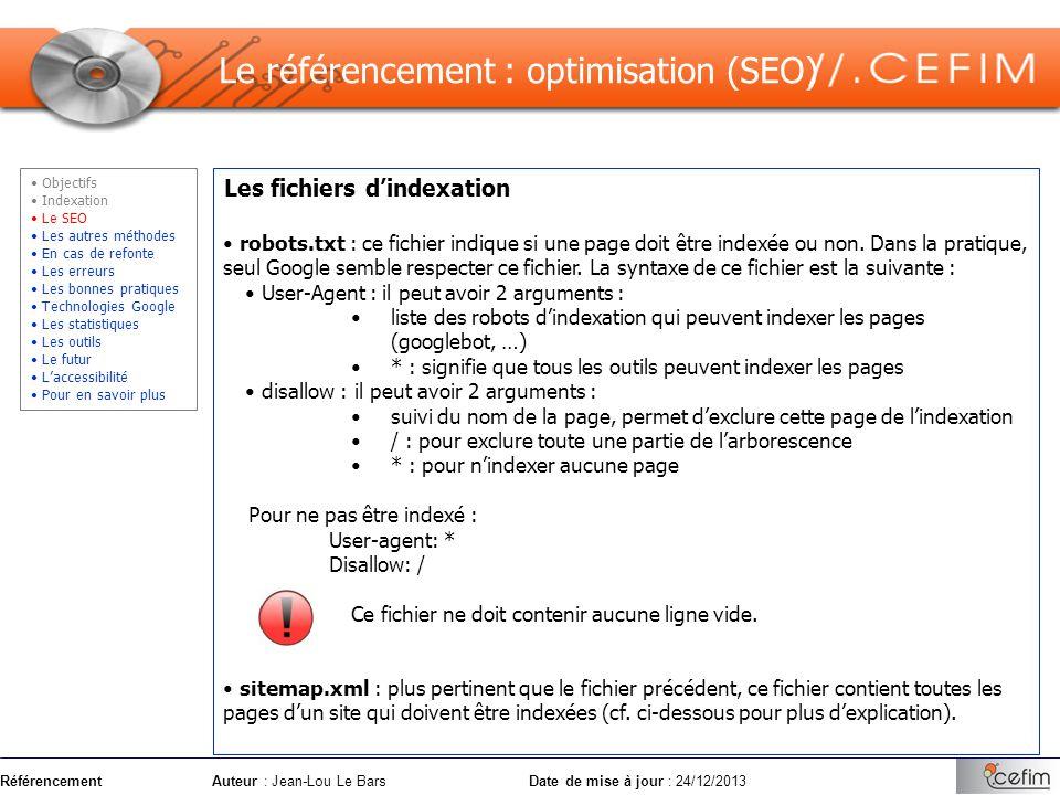 Le référencement : optimisation (SEO)