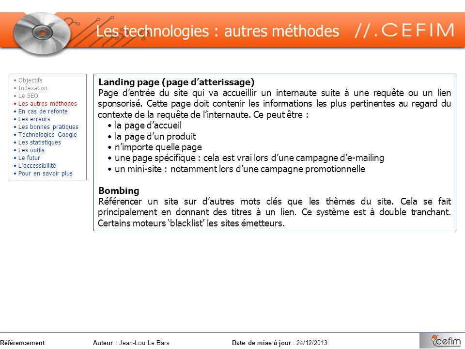 Les technologies : autres méthodes