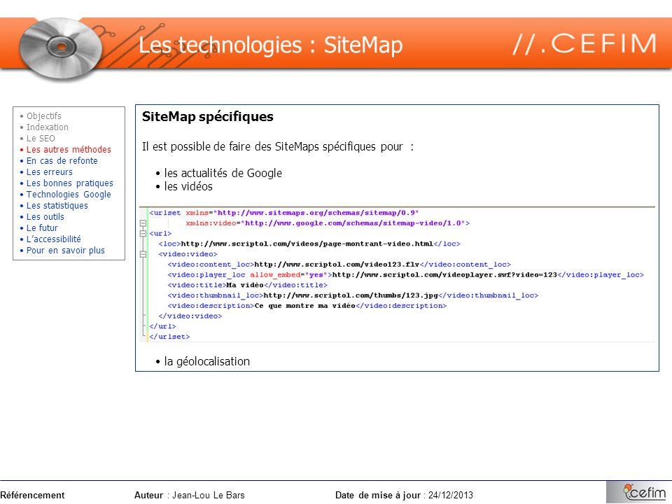 Les technologies : SiteMap