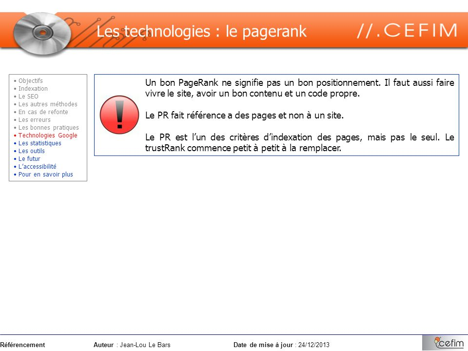 Les technologies : le pagerank