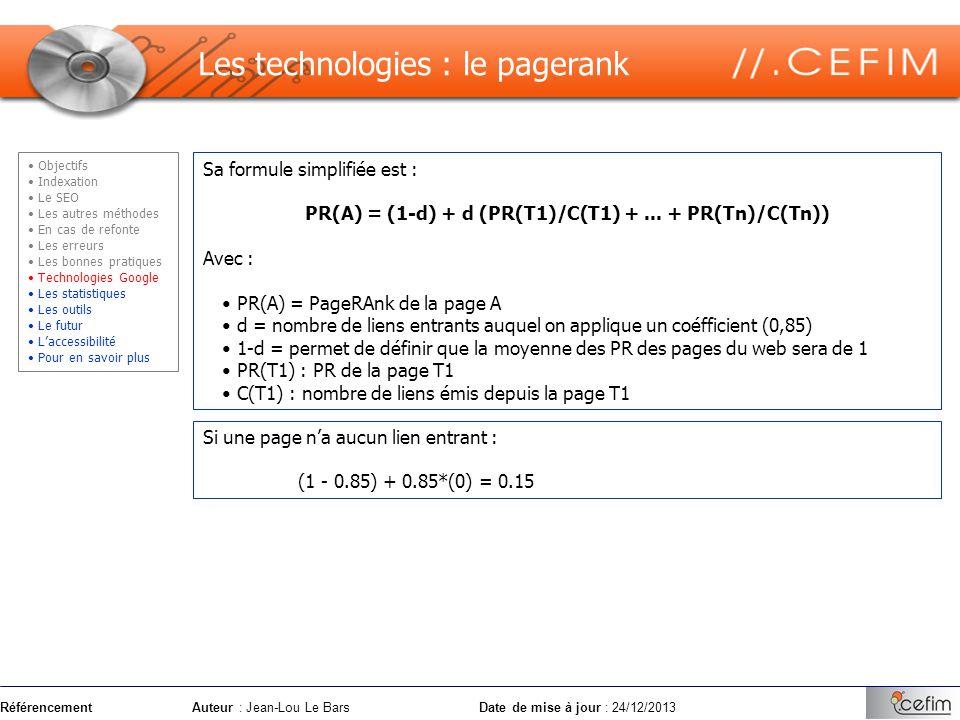 PR(A) = (1-d) + d (PR(T1)/C(T1) + ... + PR(Tn)/C(Tn))