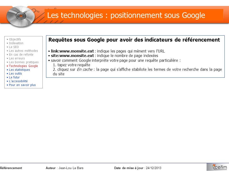 Les technologies : positionnement sous Google