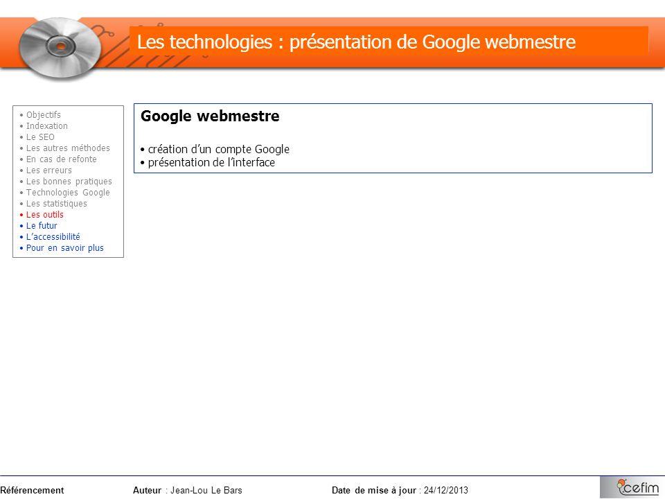 Les technologies : présentation de Google webmestre