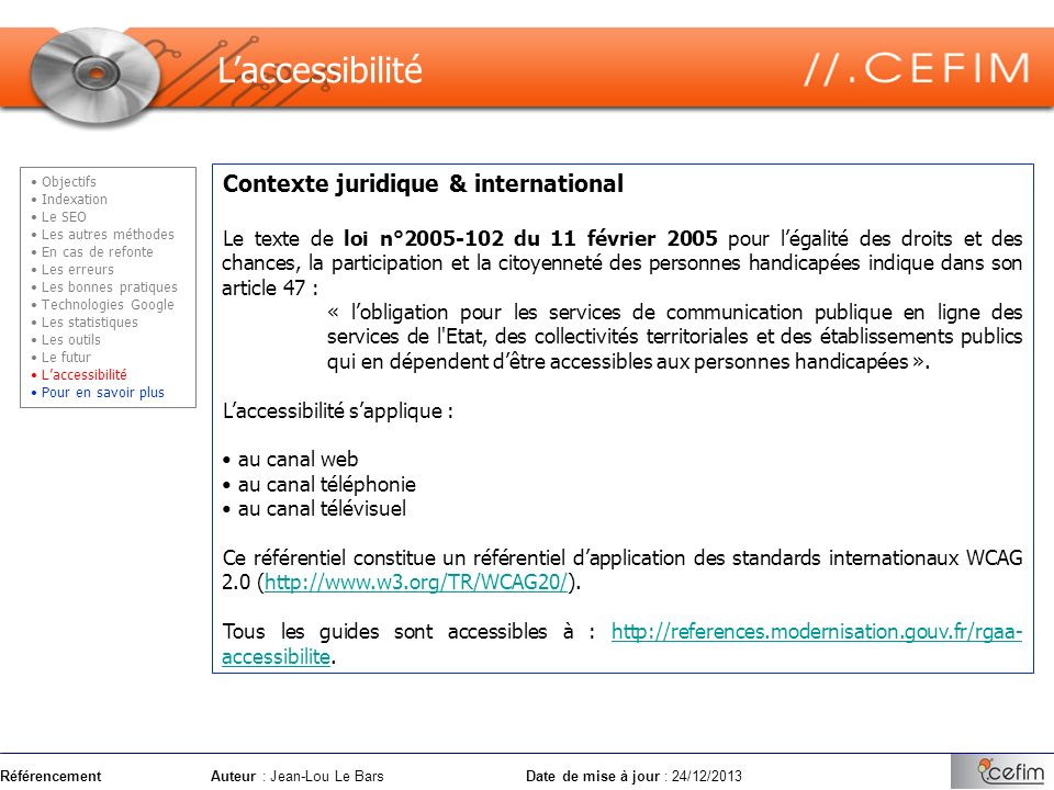 L'accessibilité Contexte juridique & international