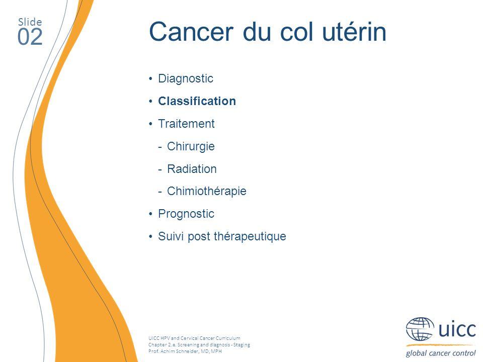 Cancer du col utérin 02 Slide Diagnostic Classification Traitement