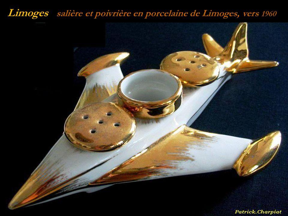 Limoges salière et poivrière en porcelaine de Limoges, vers 1960