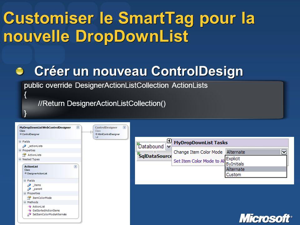 Customiser le SmartTag pour la nouvelle DropDownList