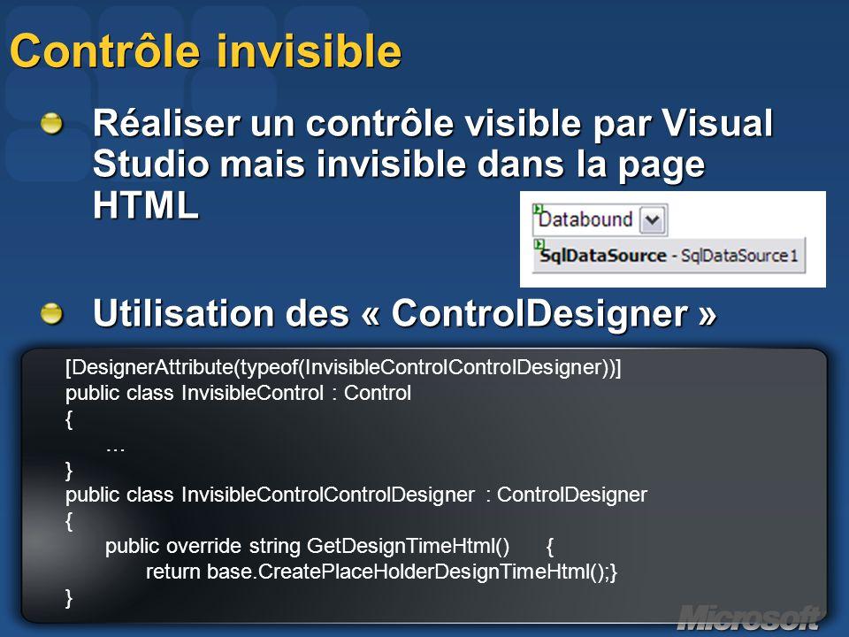 Contrôle invisible Réaliser un contrôle visible par Visual Studio mais invisible dans la page HTML.
