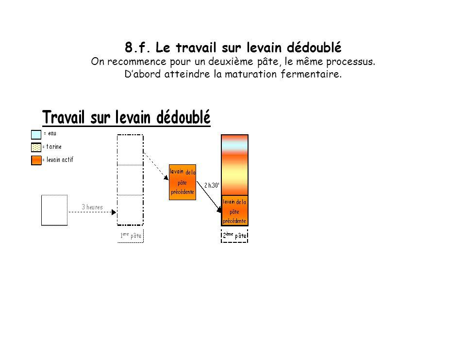 8.f. Le travail sur levain dédoublé On recommence pour un deuxième pâte, le même processus.