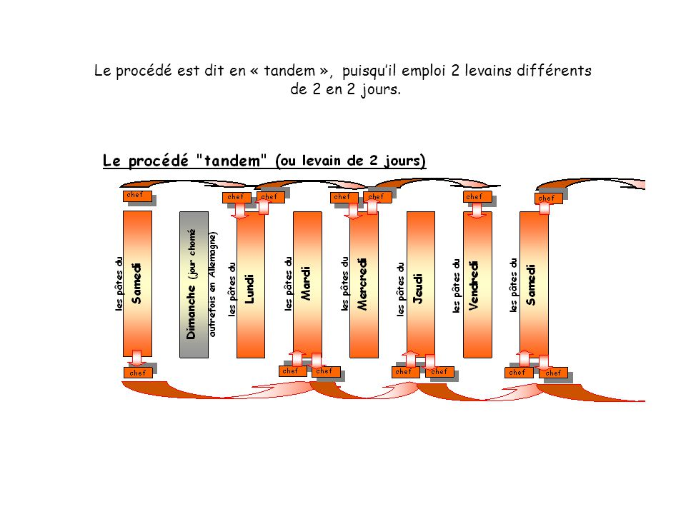 Le procédé est dit en « tandem », puisqu'il emploi 2 levains différents de 2 en 2 jours.