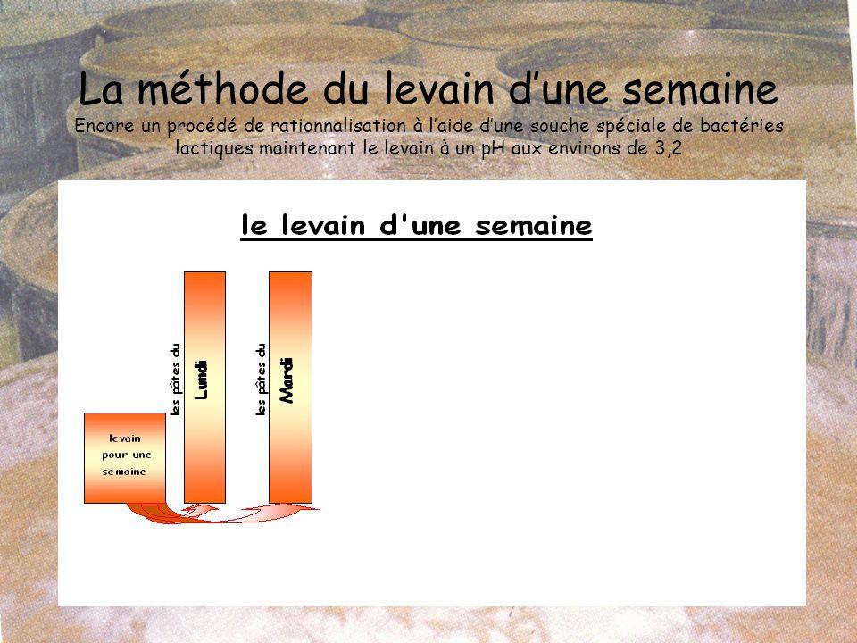 La méthode du levain d'une semaine Encore un procédé de rationnalisation à l'aide d'une souche spéciale de bactéries lactiques maintenant le levain à un pH aux environs de 3,2