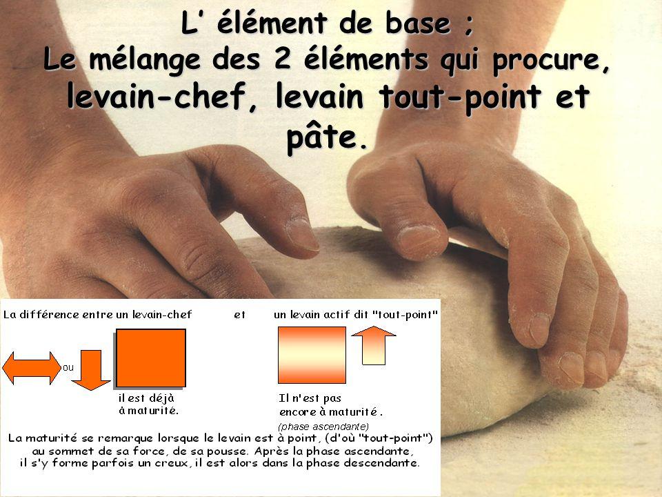 L' élément de base ; Le mélange des 2 éléments qui procure, levain-chef, levain tout-point et pâte.
