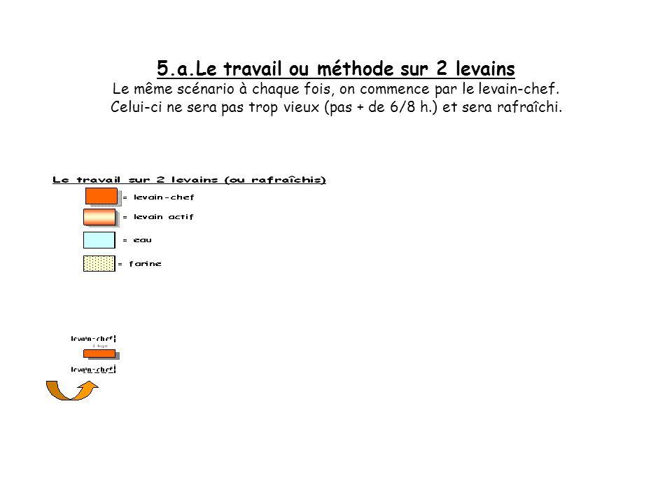 5.a.Le travail ou méthode sur 2 levains Le même scénario à chaque fois, on commence par le levain-chef.