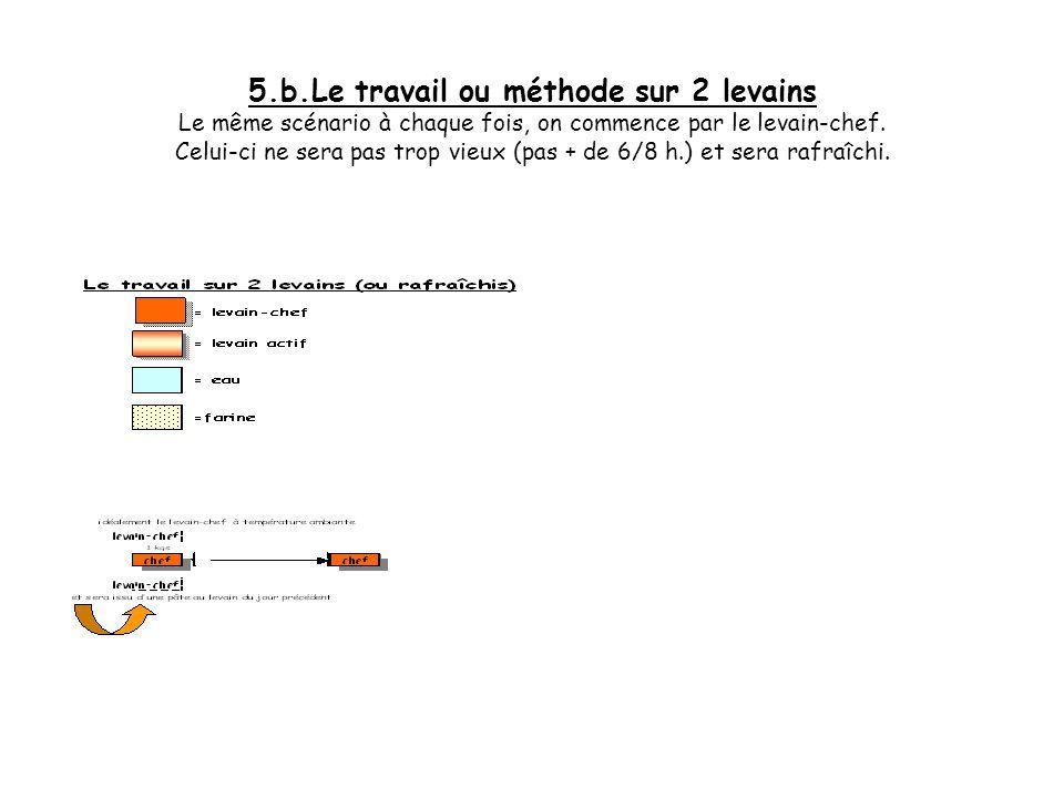 5.b.Le travail ou méthode sur 2 levains Le même scénario à chaque fois, on commence par le levain-chef.