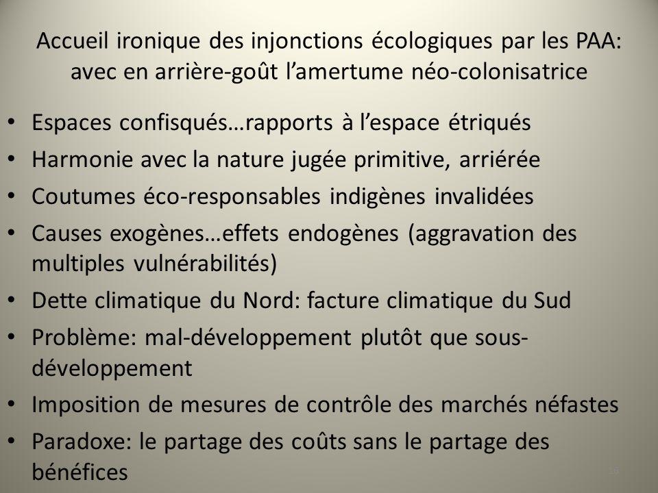 Accueil ironique des injonctions écologiques par les PAA: avec en arrière-goût l'amertume néo-colonisatrice