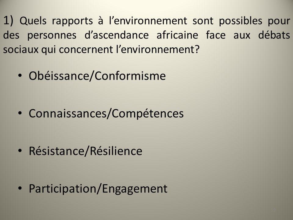 1) Quels rapports à l'environnement sont possibles pour des personnes d'ascendance africaine face aux débats sociaux qui concernent l'environnement