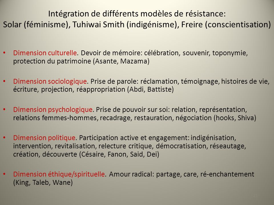 Intégration de différents modèles de résistance: Solar (féminisme), Tuhiwai Smith (indigénisme), Freire (conscientisation)