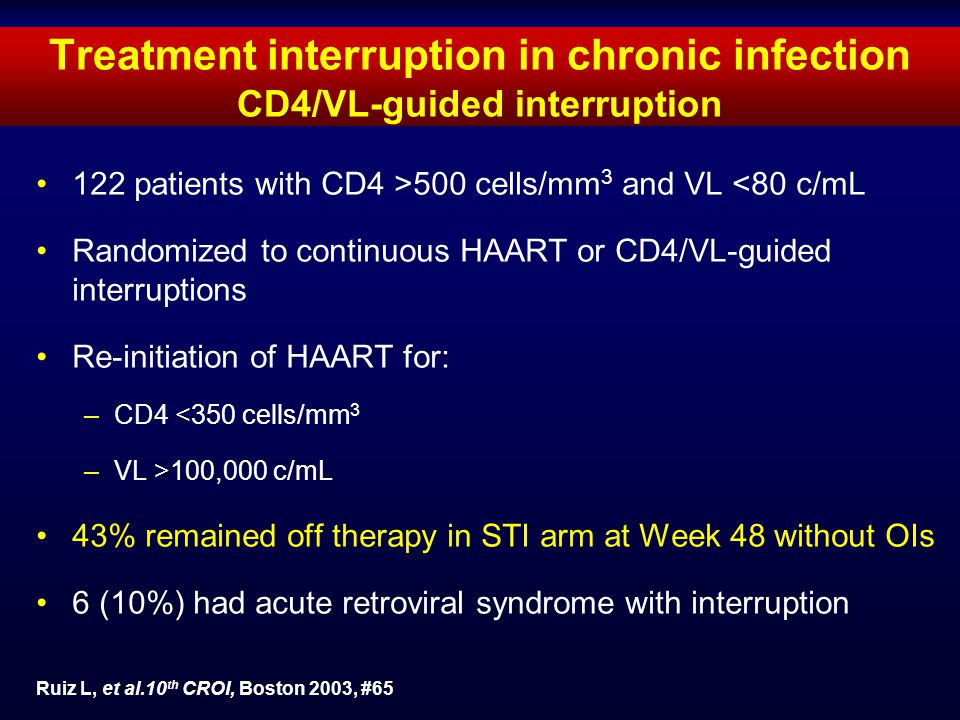 Treatment interruption in chronic infection CD4/VL-guided interruption