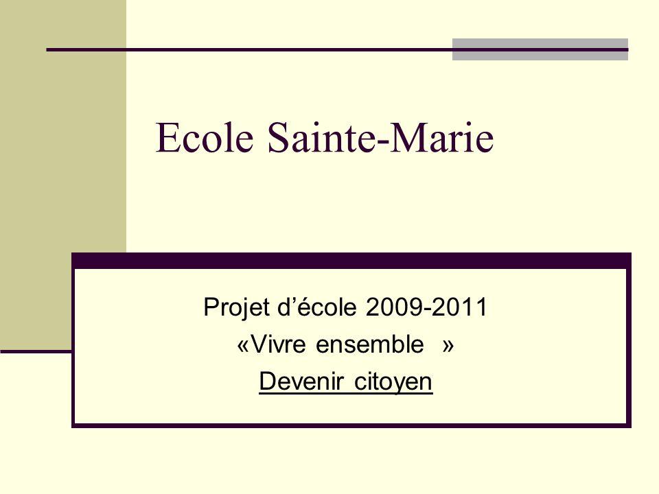 Projet d'école 2009-2011 «Vivre ensemble » Devenir citoyen
