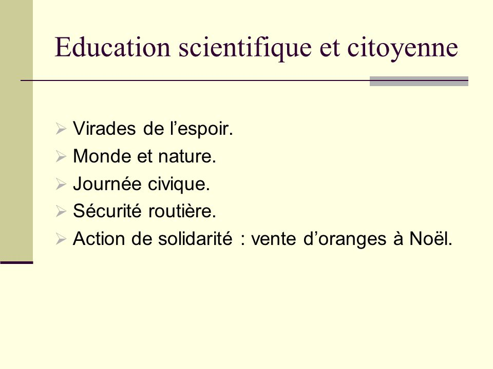 Education scientifique et citoyenne