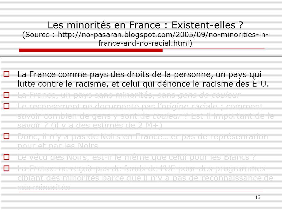 Les minorités en France : Existent-elles. (Source : http://no-pasaran