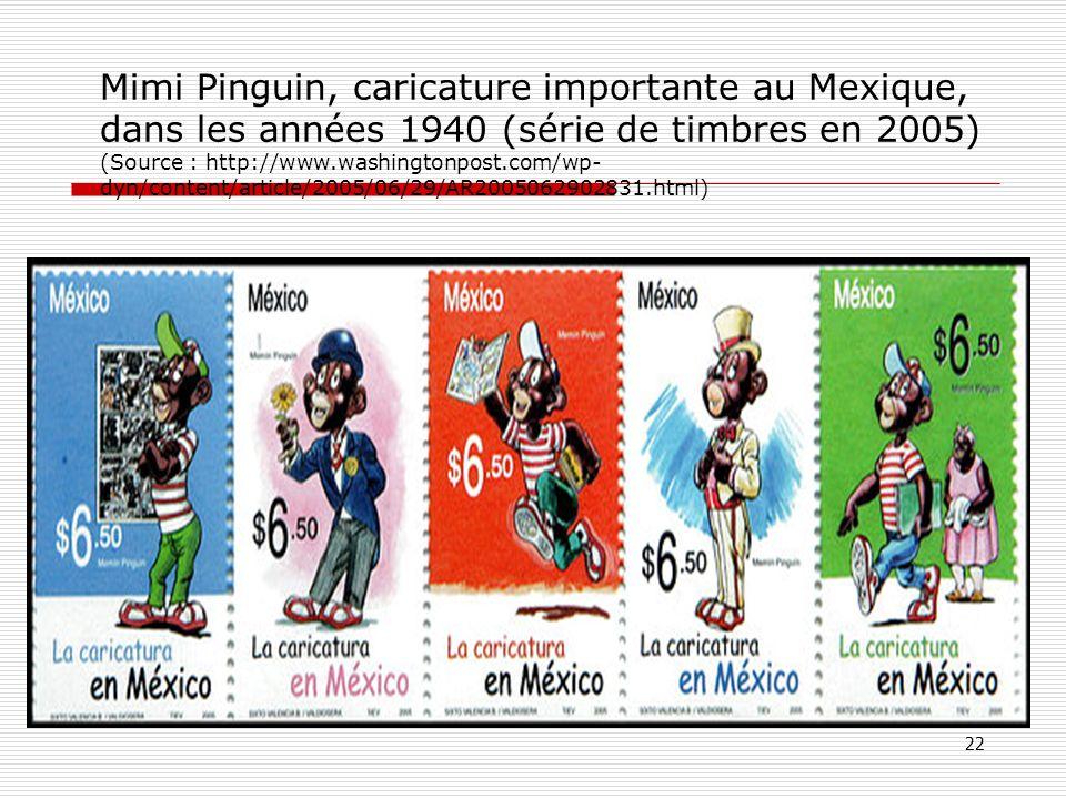 Mimi Pinguin, caricature importante au Mexique, dans les années 1940 (série de timbres en 2005) (Source : http://www.washingtonpost.com/wp-dyn/content/article/2005/06/29/AR2005062902831.html)