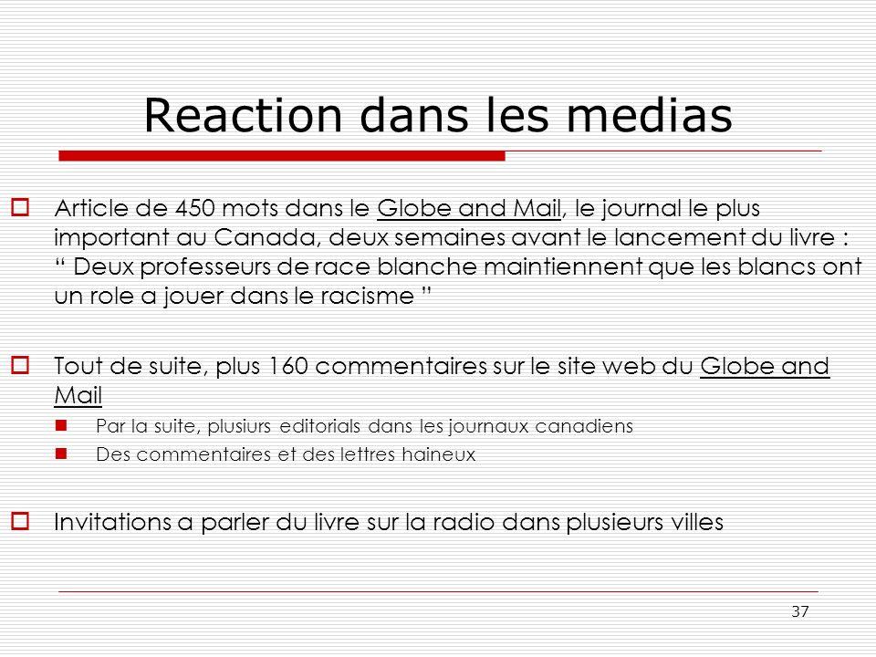 Reaction dans les medias