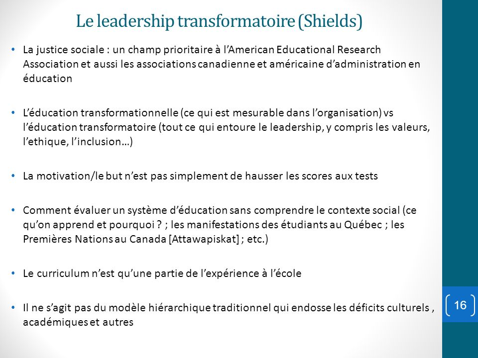 Le leadership transformatoire (Shields)