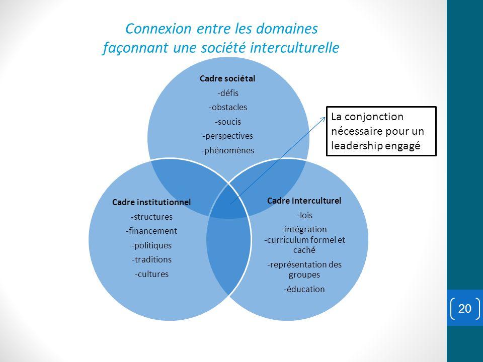 Connexion entre les domaines façonnant une société interculturelle