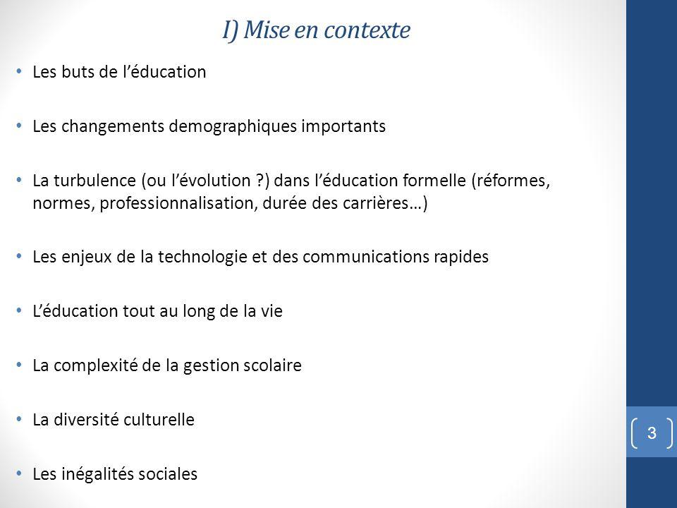 I) Mise en contexte Les buts de l'éducation